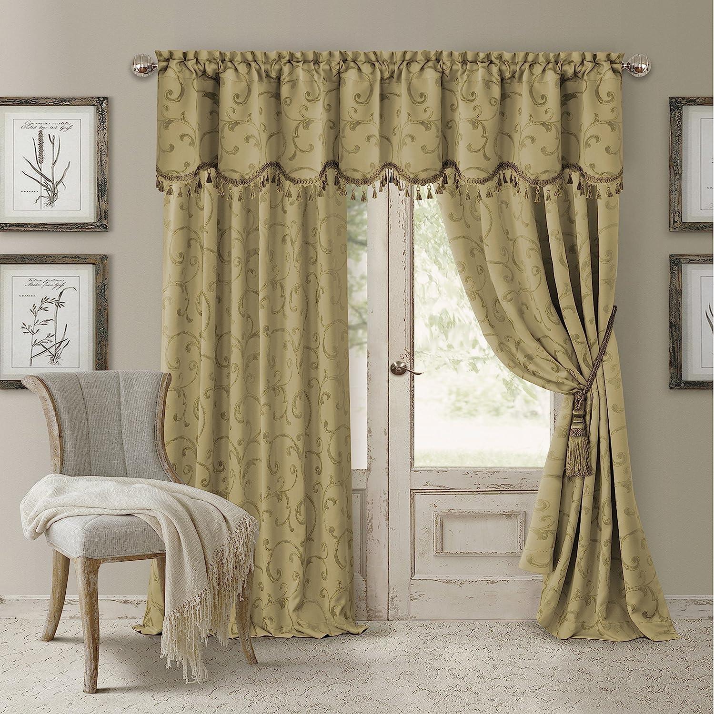 "Elrene Home Fashions Rod Pocket Damask Window Valance with Tassels, 52"" W x 19"" L, Gold (1 Valance)"