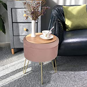 Velvet Storage Ottoman Home Vanity Seat/Table Small Round Soft Foot Rest Stool with Non-Slip Golden Hairpin Legs for Living Room, Bedroom and Kids Room (D15 xH18, Pink)