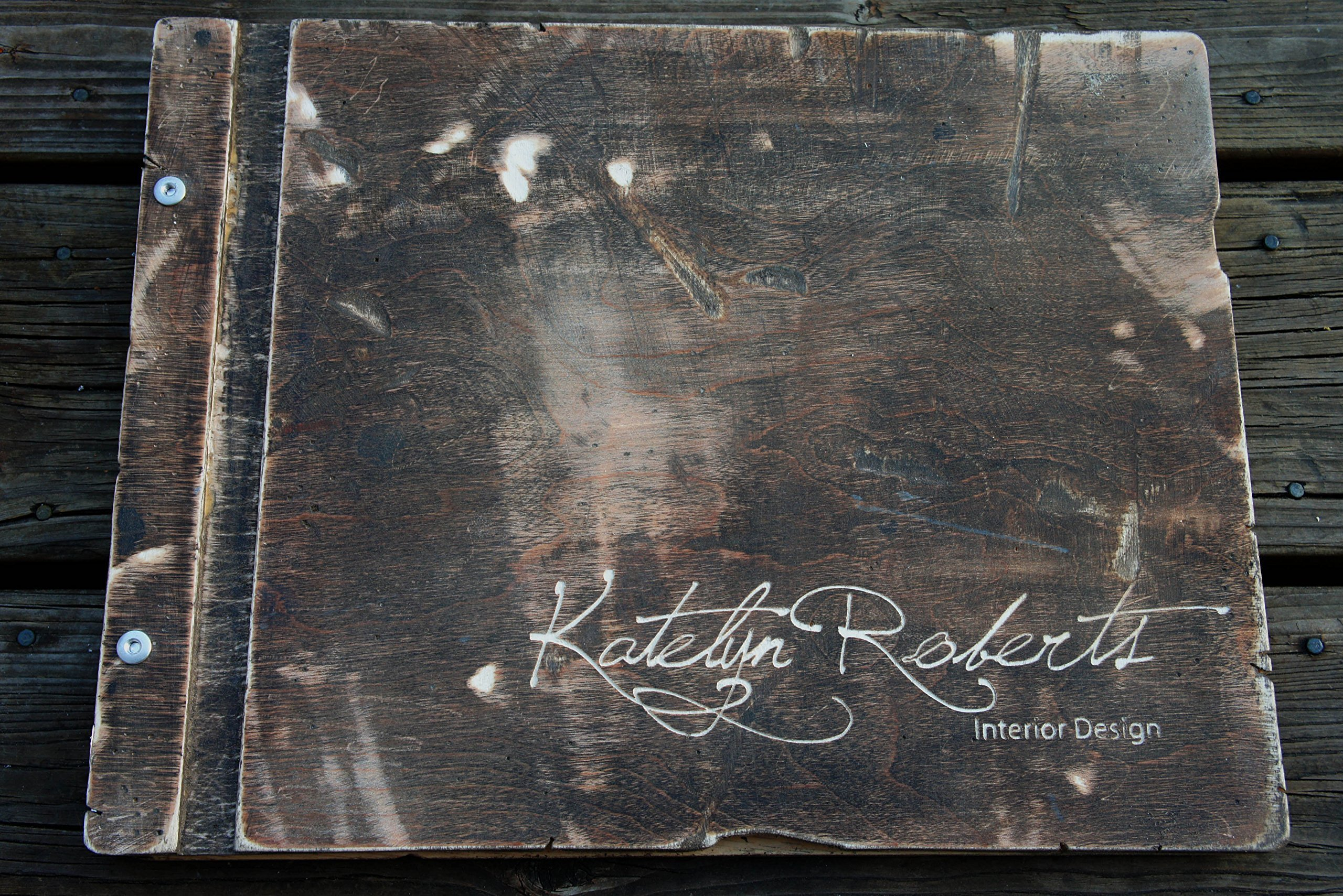 Special Request Distressed Wooden Birch Portfolio WITH 10 Sheet Protectors & Custom Engraving