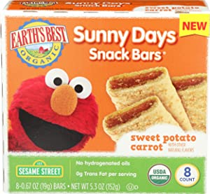 Earths Best, Sunny Day Bars Sweet Potato Carrot Organic 8 Count, 0.67 Ounce