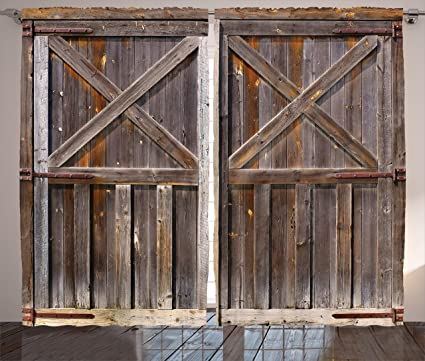 Ambesonne Rustic Curtains Decor, Old Wooden Barn Door Of Farmhouse Oak  Countryside Village Board Rural