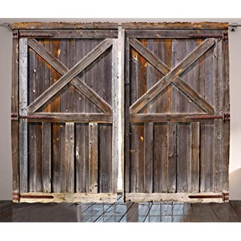 Ambesonne Rustic Curtains Decor, Old Wooden Barn Door Of Farmhouse Oak  Countryside Village Board Rural Life Photo Print, Living Room Bedroom  Window Drapes 2 ...
