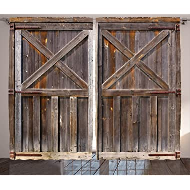 Ambesonne Rustic Curtains Decor, Old Wooden Barn Door of Farmhouse Oak Countryside Village Board Rural Life Photo Print, Living Room Bedroom Window Drapes 2 Panel Set, 108 W X 90 L inches, Brown
