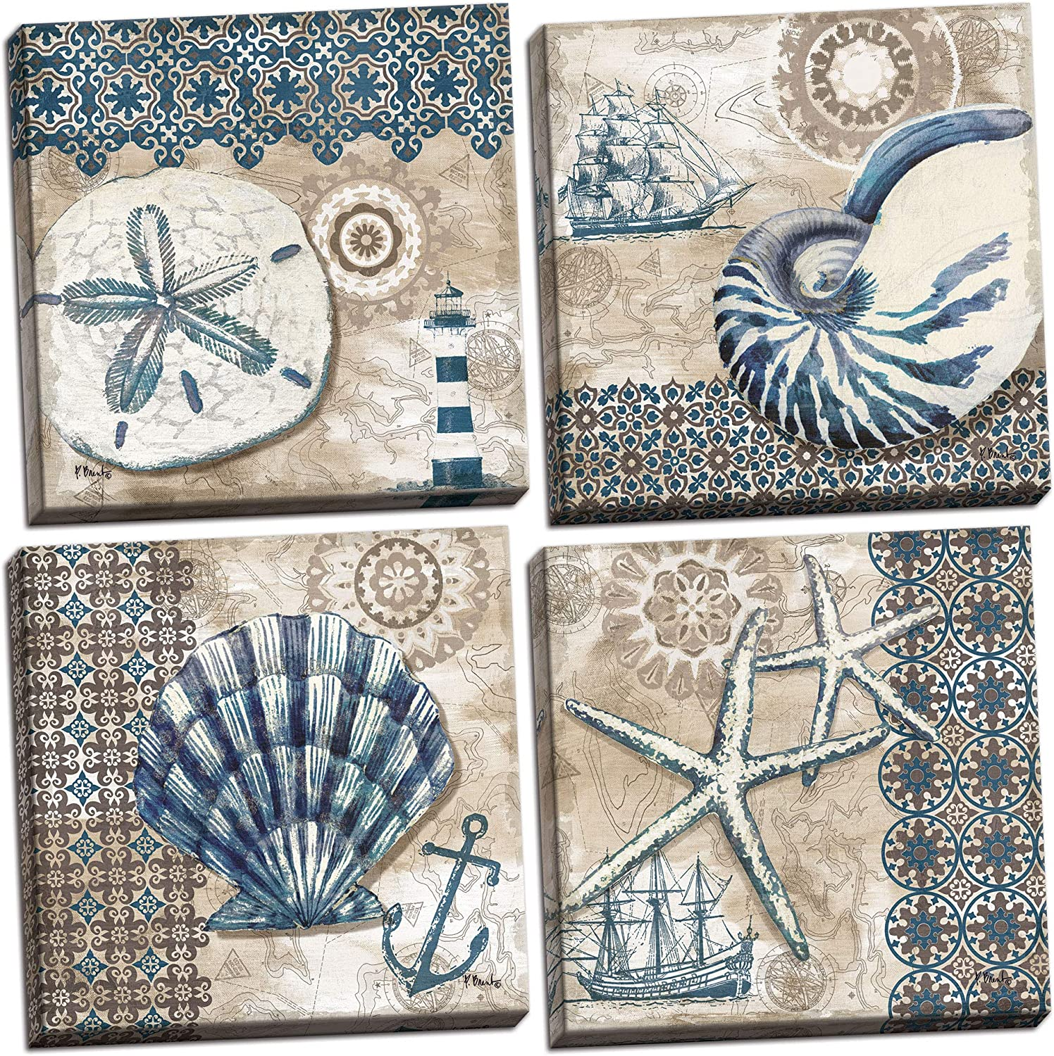 4 Lovely Blue and Brown Ocean Seashell Sand Dollar and Star Fish Collage Poster Prints; Nautical Decor, Four 12 by 12-Inch Canvases; Ready to Hang!