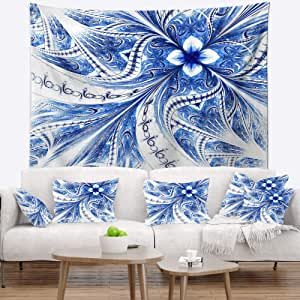 Designart Symmetrical Ideal Blue Fractal Flower Floral Tapestry Blanket Décor Wall Art For Home And Office Created On Lightweight Polyester Fabric Large 50 In X 60 In Arts Crafts Sewing