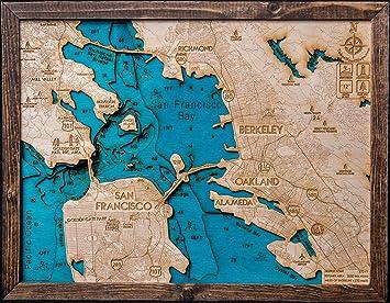 Amazoncom Beautifully Detailed San Francisco 3D Wood Map BLUE