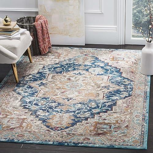 Safavieh Aria Collection Premium Wool Square Area Rug, 6 5 , Blue Beige