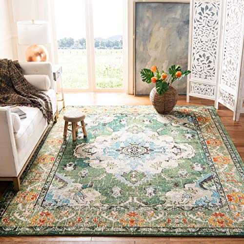 Safavieh Monaco Collection MNC243F Bohemian Chic Medallion Distressed Area Rug, 8 x 10 , Forest Green Light Blue