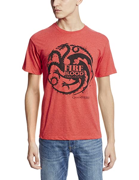 face23db HBO'S Game of Thrones Men's Fire and Blood Targaryen T-Shirt, Red, ...