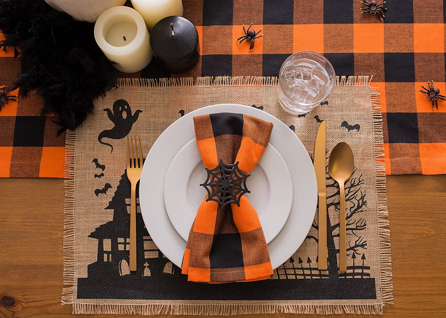 DII 100/% Burlap Rustic Vintage Printed Placemat for Parties /& Halloween Hunted House Set of 4