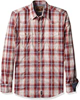 Wrangler Men's Tall Size Retro Western Long Sleeve Woven Shirt, Blue/Rust/White, Tall/Large