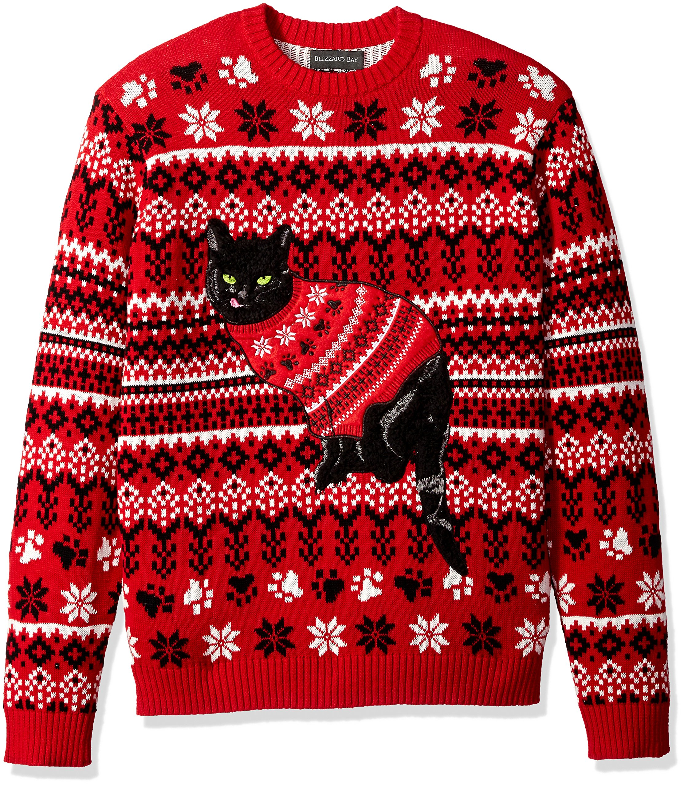 Blizzard Bay Men's Ugly Christmas Sweater Cat, Black/Red, Medium by Blizzard Bay