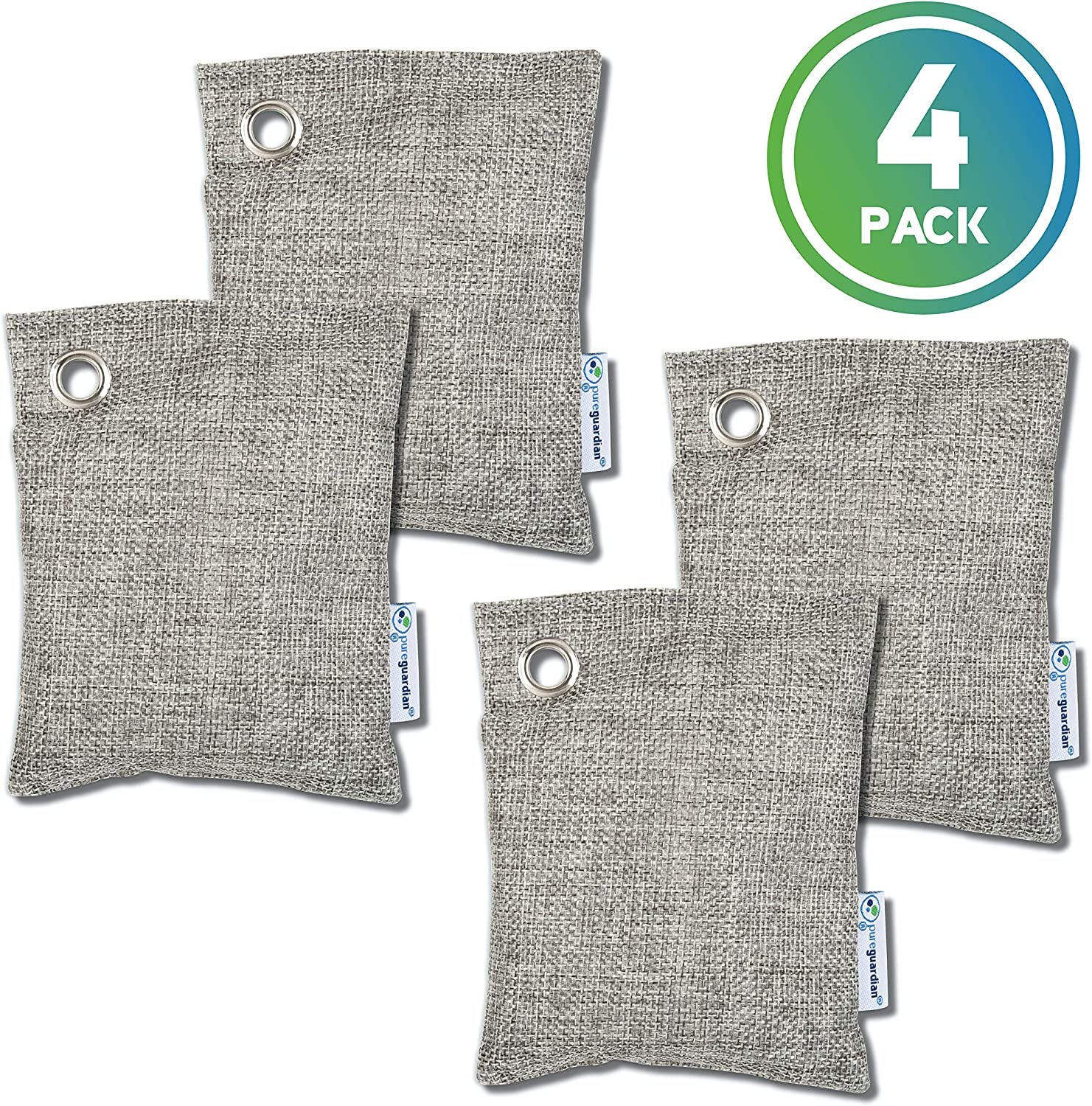 Guardian Technologies CB1004PK Pure Guardian Bamboo Charcoal Air Purifier Bags, Eco-Friendly, Naturally Absorbs Odors, Excess Moisture and Pollutants, 4-pack - 100g each, Gray