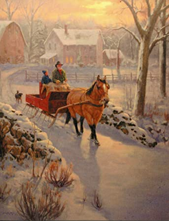 Leanin Tree Christmas Cards.Leanin Tree Farm With Horse Pulling Sleigh 12 Christmas
