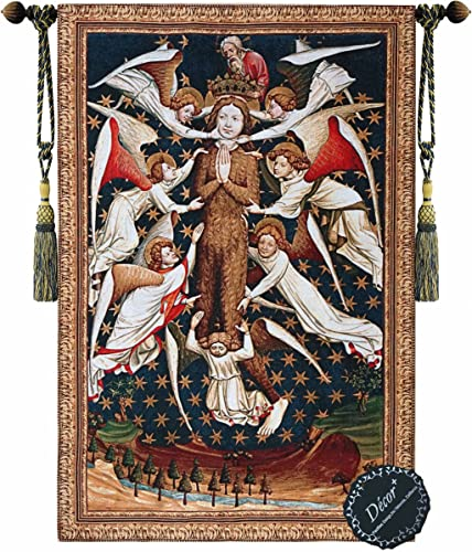 Beautiful Mary Magdalene Raised by Angels Fine Tapestry Jacquard Woven Wall Hanging Art Decor
