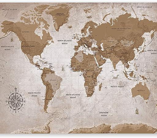 Fotomurale Mappa del Mondo k-A-0057-a-b murando Carta da parati 150x105 cm Fotomurali in TNT Murale alla moda Decorazione da Muro XXL Poster Gigante Design Carta per pareti