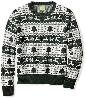 61cb8e4c92 Amazon.com  Ugly Fair Isle Unisex Jacquard Crewneck Christmas Sweater   Clothing