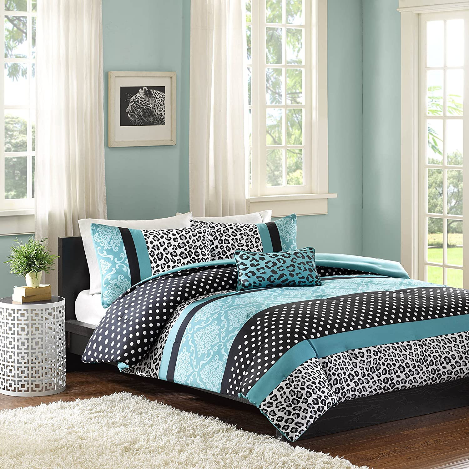 Mi Zone Chloe Comforter Set Full/Queen Size - Teal, Polka Dots, Damask, Leopard – 4 Piece Bed Sets – Ultra Soft Microfiber Teen Bedding