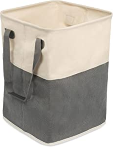 BirdRock Home Square Cloth Laundry Hamper with Handles - Dirty Clothes Sorter - Easy Storage - Foldable - Grey and White Canvas