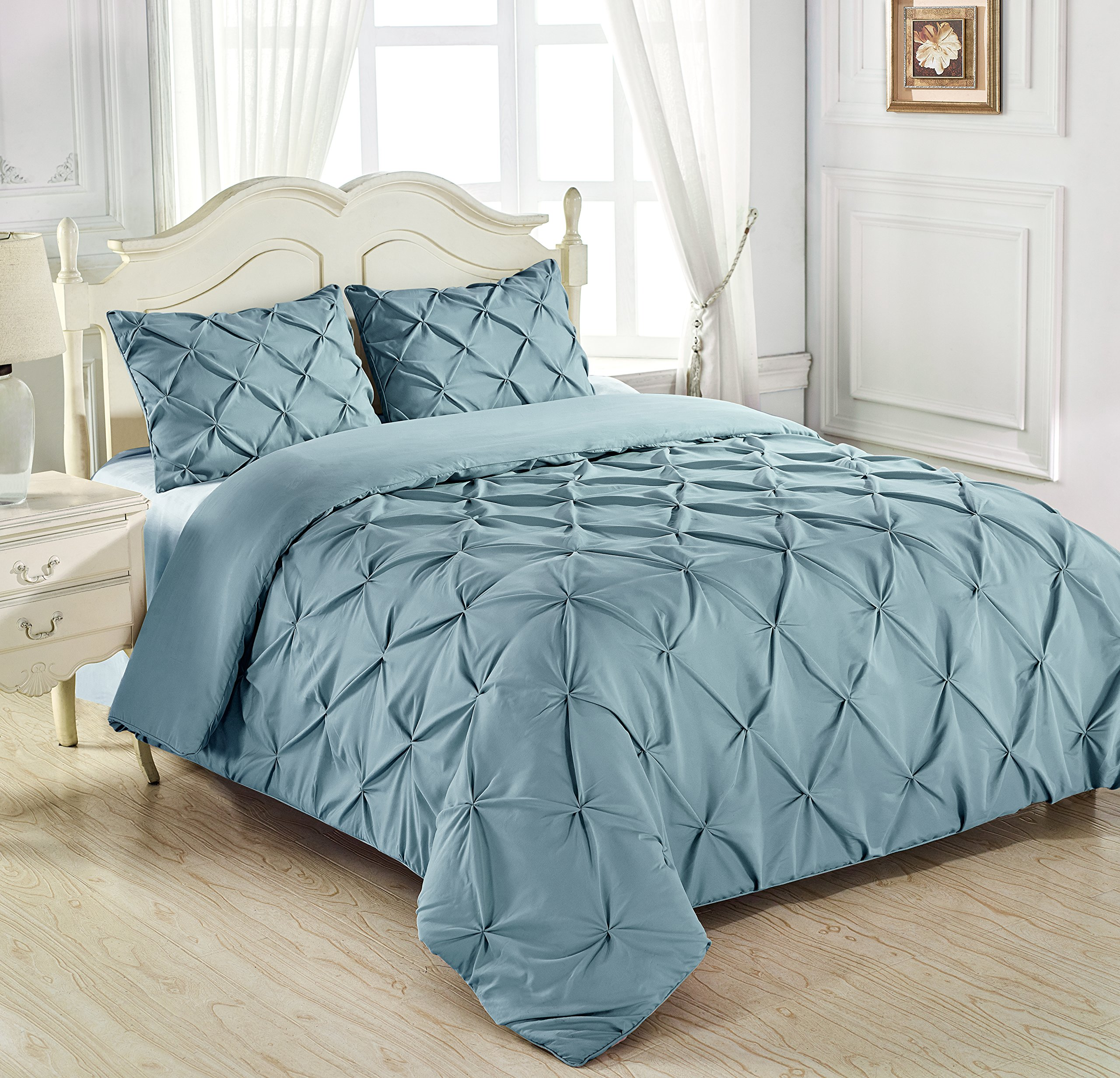 King & Queen Home Reinforced Double Stitch 3 Piece Pinch Pleat Comforter Set (Cali King, Spa Blue) by King & Queen Home (Image #4)