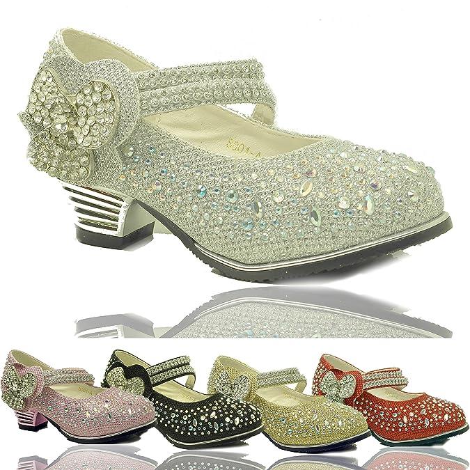 Girls Children's Kids Party Wedding Low Heel Glitter Diamante Strap Shoes  Size: Amazon.co.uk: Shoes & Bags