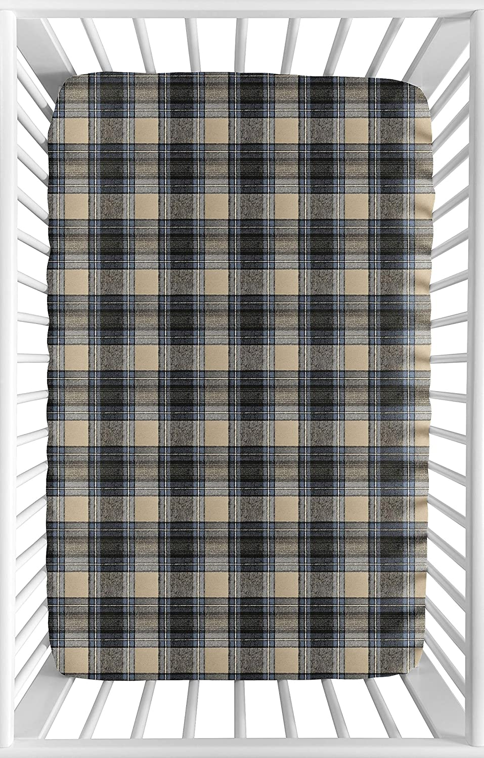 Amazon Com Sweet Jojo Designs Blue And Tan Woodland Plaid Flannel Baby Boy Fitted Mini Portable Crib Sheet For Rustic Patch Collection For Mini Crib Or Pack And Play Only Baby