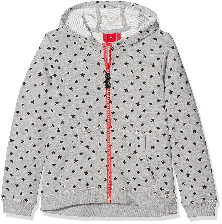 s.Oliver Mädchen Sweatshirt Grau (Grey/Black AOP 94A9) 66.708.43.4825