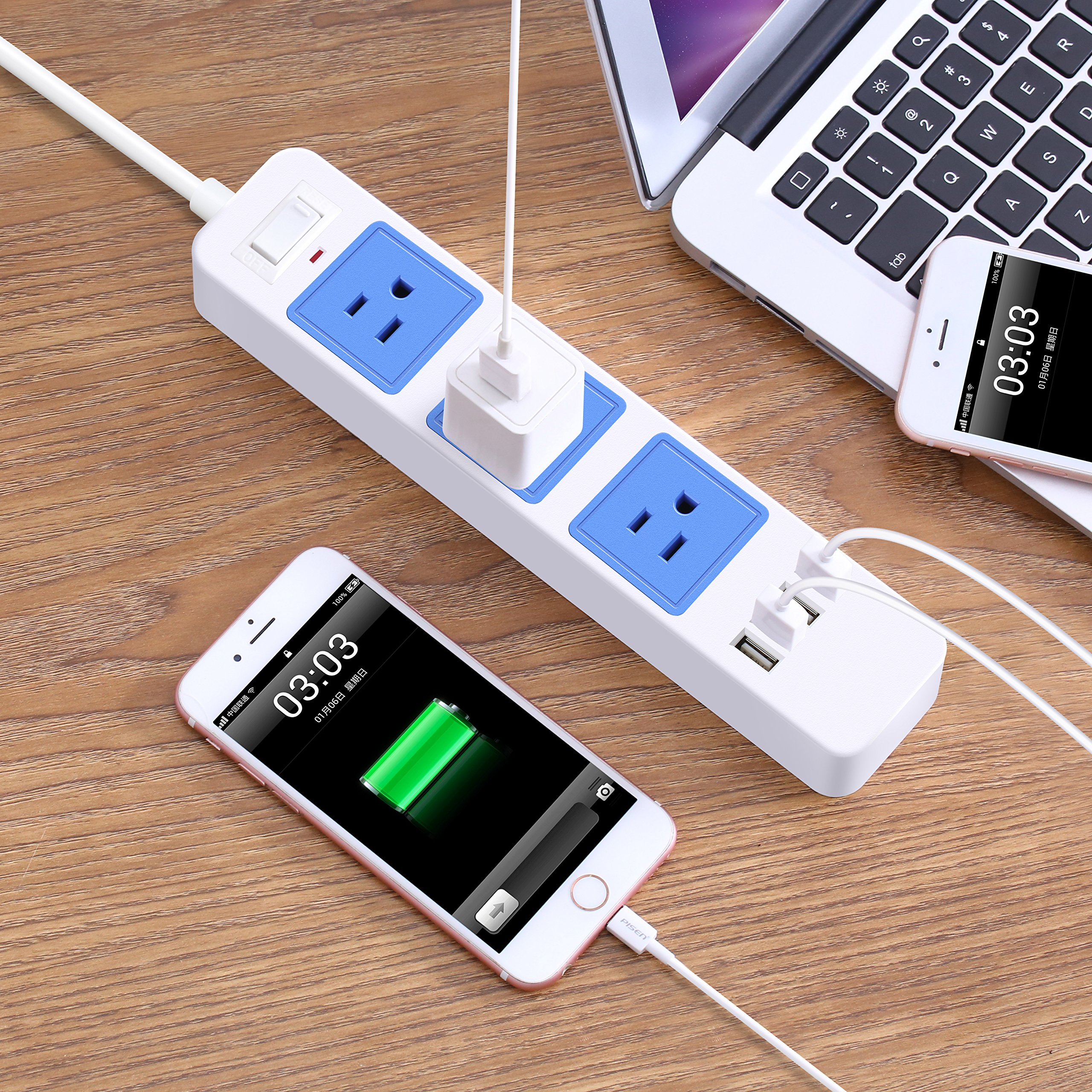 ZXpower USB Power Strip with 3 AC Outlets, 4 USB Charging Ports and 6.5Ft Cord for Home Office Travel (Blue) by ZXpower (Image #7)
