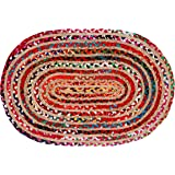 Jute Multi Chindi Oval Braided Rug, Tightly Braided Chindi and Jute Rug,Reversible,Durable,Sustainable Rug Pad, Shag Rugs for