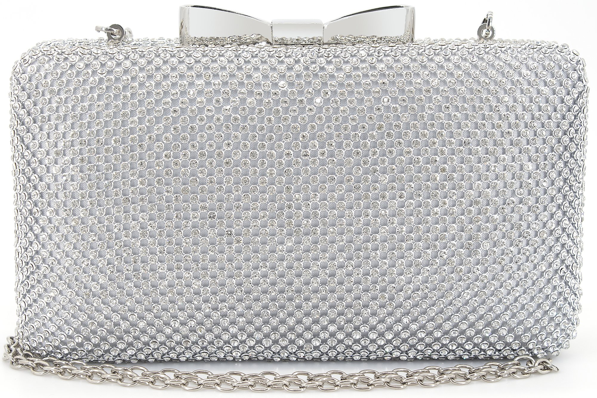 Bow Clutches Women Evening Bag for Wedding Prom Cocktail Party Rhinestone Crystal Clutch Purse Silver