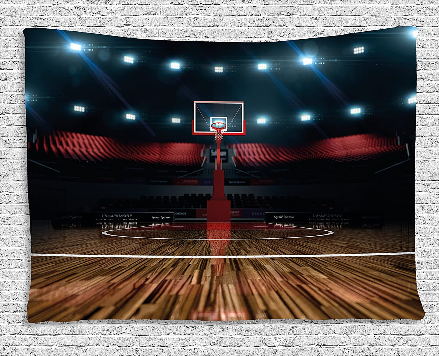 """Ambesonne Teen Room Tapestry, Professional Basketball Arena Stadium Before The Game Championship Sports Image, Wide Wall Hanging for Bedroom Living Room Dorm, 60"""" X 40"""", Dark Brown"""
