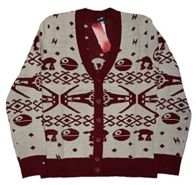Christmas Star Wars Space Ships Fair Isle Cardigan Sweater at ...