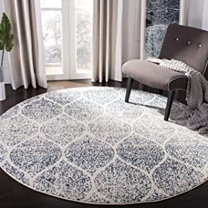 "Safavieh Madison Collection MAD604A Geometric Ogee Trellis Distressed Area Rug, 6' 7"" Round, Cream/Royal Blue"