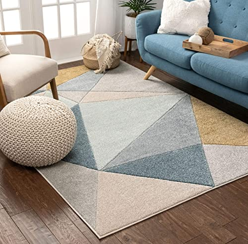 Well Woven Tessa Blue Modern Geometric Shatter Triangles Pattern Area Rug 8×10 7 10 x 10 6