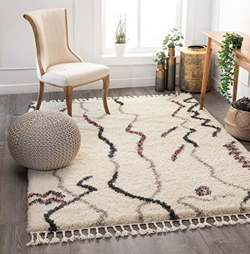 Well Woven Salma Ivory Moroccan Shag Tribal Stripes Pattern Area Rug 5×7 5 3 x 7 3