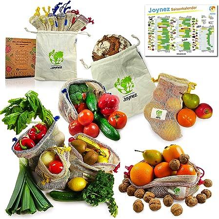 Joynez Bolsas Reutilizables de Fruta y verdura, SOSTENIBLE de algodón ecológico, Redes de Juego de la Compra 7 Incluye Pan de plástico Bolsa: Amazon.es: Hogar