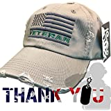Veteran American Flag Hat Olive Green USA OIF Vietnam combat olive drab distressed cap