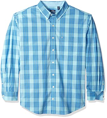 a819714c8ef Izod Men s Big and Tall Saltwater Chambray Plaid Short Sleeve Shirt ...