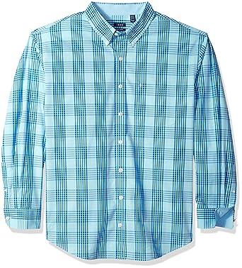 eb800fc0 Izod Men's Big Saltwater Chambray Plaid Short Sleeve Button Down Shirt,  Gulf Stream, XL