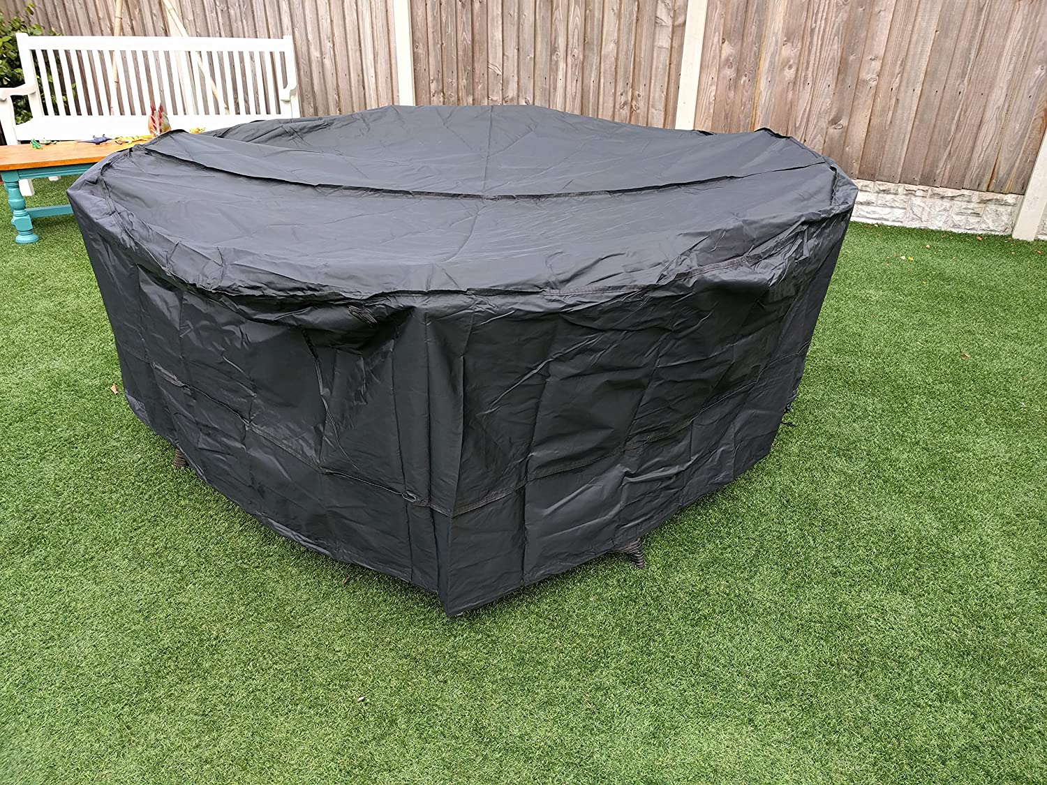 Speedwellstar Round Garden Table Hot Tub Cover Furniture Patio Fitted  Circular Drawstring 7-7 Seat Dining Set Large Breathable Quality