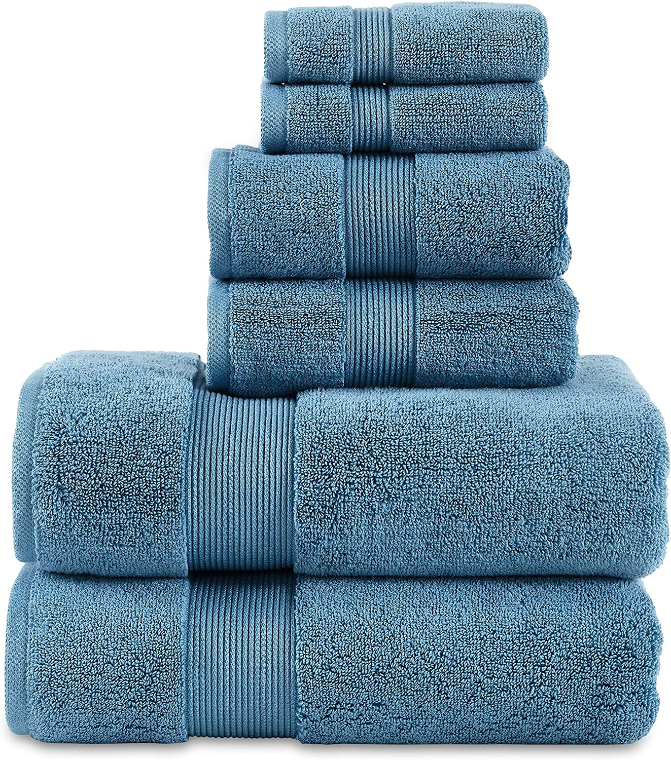 "703 GSM 6 Piece Towels Set, 100% Cotton, Zero Twist, Premium Hotel & Spa Quality, Highly Absorbent, 2 Bath Towels 30"" x 54"", 2 Hand Towel 16"" x 28"" and 2 Wash Cloth 12"" x 12"". Teal Color"