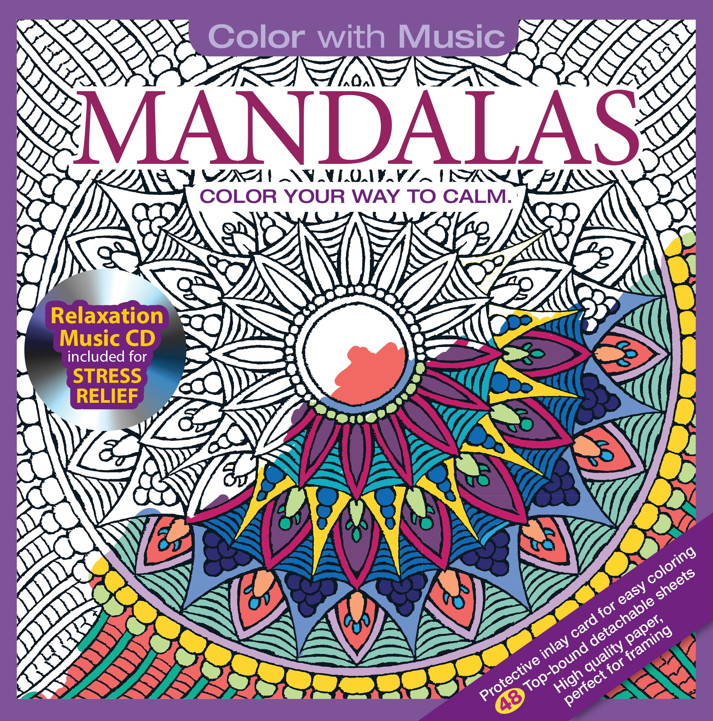 Amazon Mandalas Adult Coloring Book With Bonus Relaxation Music CD Included Color 9781988137032 Various Artists Books