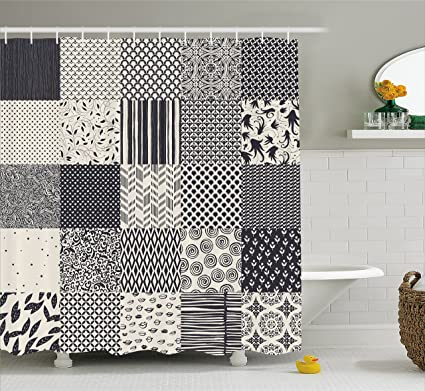 Ambesonne Geometric Shower Curtain Abstract Collage Like Image With Flowers Stripes Modern Shapes Fabric