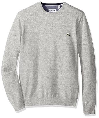 Lacoste Men's Seg 1 Cotton Jersey Crewneck Sweater, Silver/Grey ...