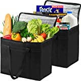 2 Insulated Grocery Bags XL Reusable, Sturdy Zipper, Stands Upright, Heavy Duty, Foldable, Washable, Eco-Friendly, 100% Lifetime Satisfaction Guarantee, Made of Recycled Materials