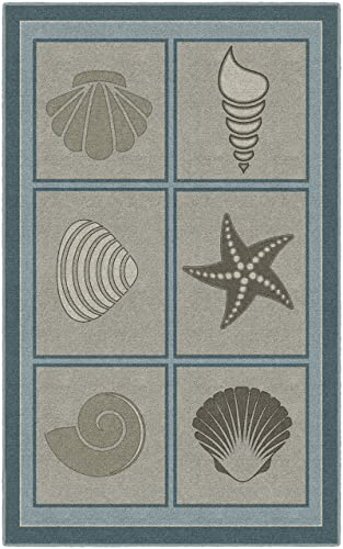 Brumlow Mills Muted Beach Squares Seashell Area Rug, 5 x 8