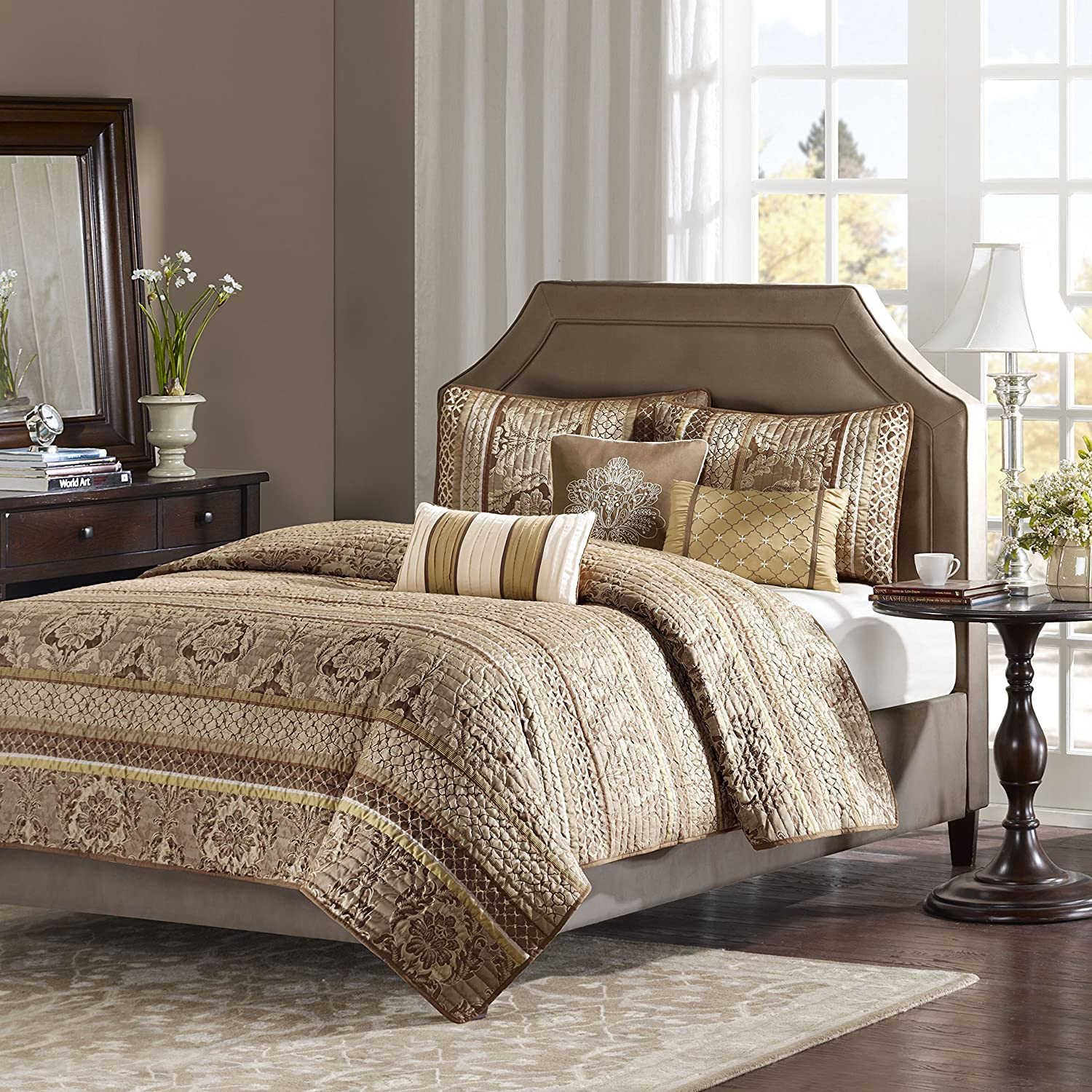 Madison Park Bellagio 6 Piece Quilted Coverlet Set, Full/Queen, Brown/Gold