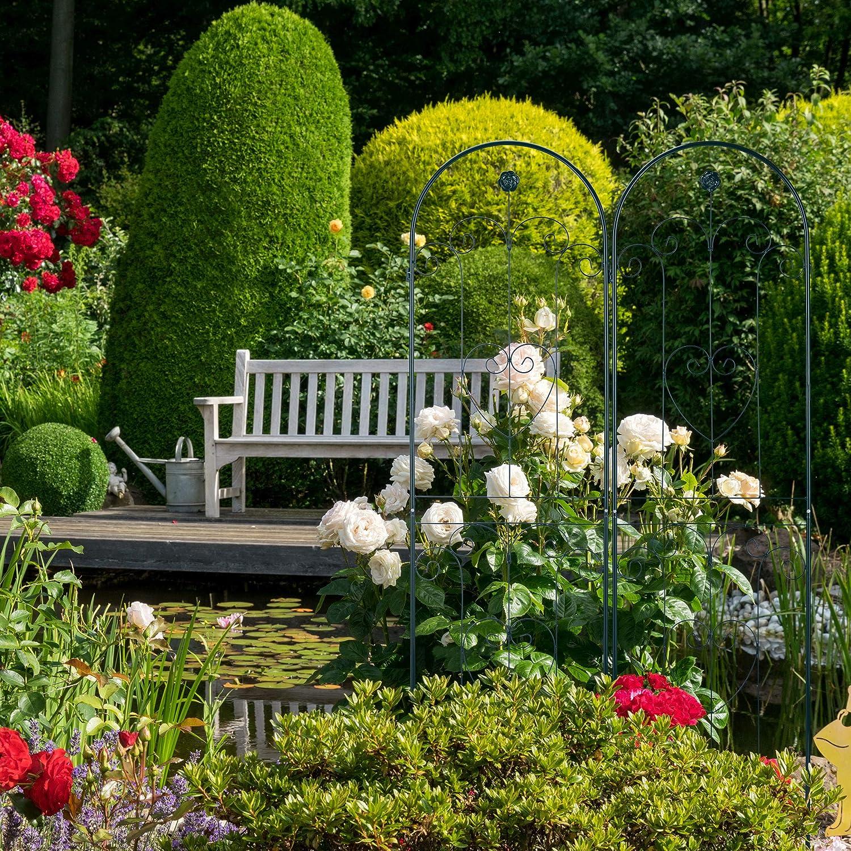 Relaxdays, 180 x 50 cm, Verde Oscuro Set de Dos Soportes para Enredaderas, Enrejado metálico, Arco con Flor y corazón