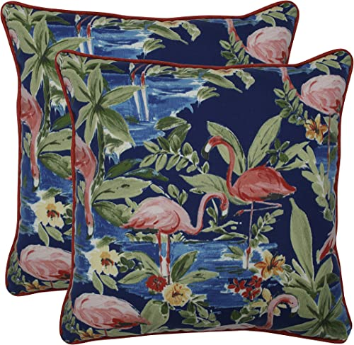 Pillow Perfect Outdoor Indoor Flamingoing Lagoon Throw Pillows, 18.5 x 18.5 , Blue, 2 Piece