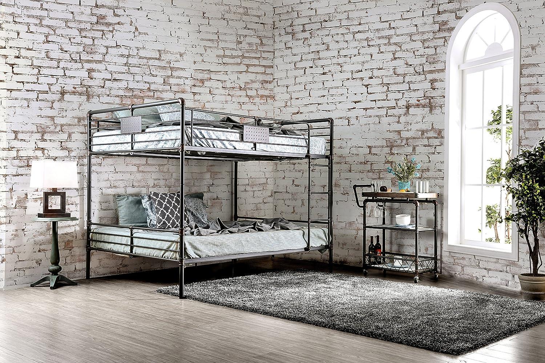 HOMES Inside Out IDF-BK913QQ Xondro Bunk Childrens Bed Frames, Queen Queen, Antique Black